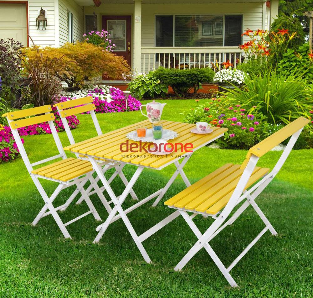 Balkon Sarı Masa ve Sandalye Takımı