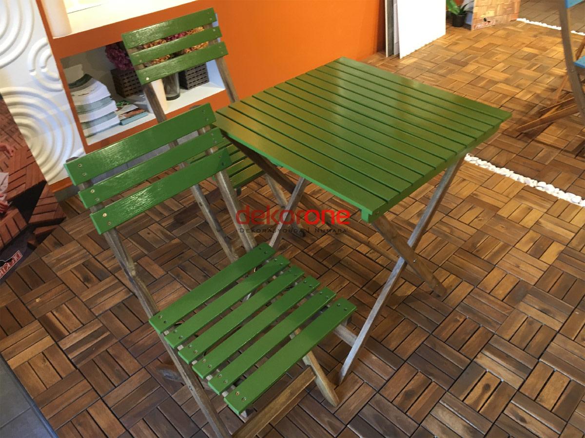 Balkon Yeşil Masa ve Sandalye Takımı