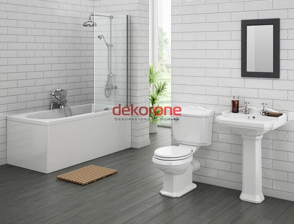 Beyaz Fon Banyo Dekorasyonu