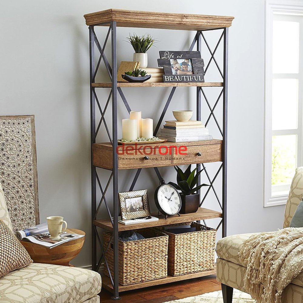 Oturma Odası Ahşap Kitaplık Raf Modeli