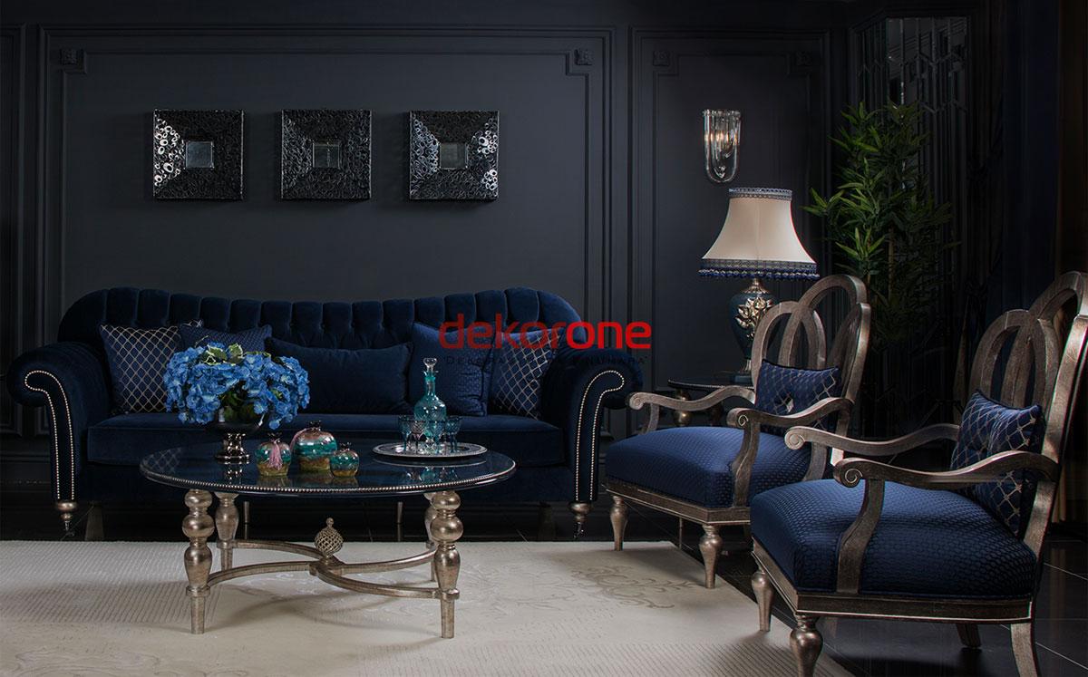 Lacivert Koyu Tonlarda Klasik Oturma Odası